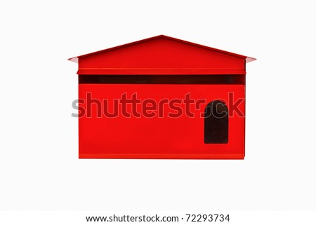 Front red mail box, isolate - stock photo