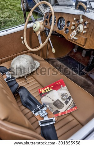 Front seat of old classic car. - stock photo