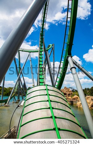 Front seat of the Roller Coaster track in a University adventure park in Orlando, Florida.  - stock photo