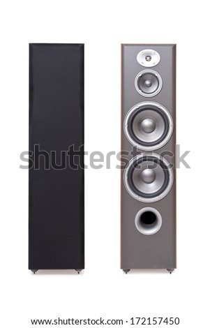 Front shot of music columns with open and closed dynamics isolated on white background - stock photo