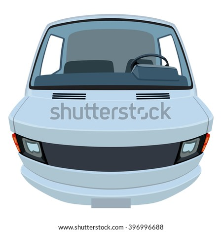 Front side of the light commercial vehicle on a white background - stock photo