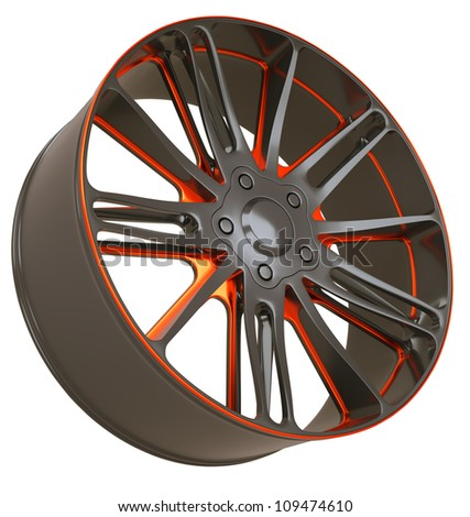 Front side view of Alloy wheel isolated over white (custom rendered) - stock photo