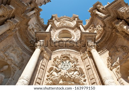 Front side view of the cathedral in Valencia, Spain.  - stock photo