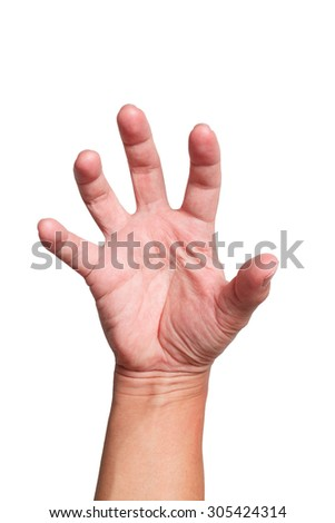 Front Strong Hand grabbing or reaching for Something isolated on white back ground   - stock photo