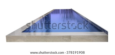 Front swimming pool of villa on white background.