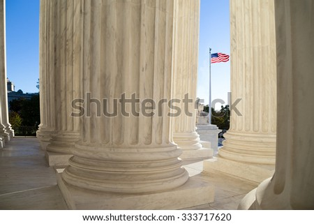 Front terrace of the Supreme Court of U.S. - stock photo