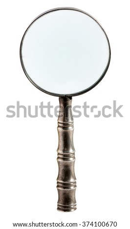 Front upright view of a round metal magnifying glass with an ornate handle isolated on white