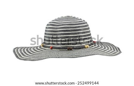 Front view black floppy hat isolated on white background - stock photo