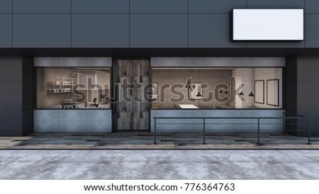 Front View Cafe Shop Restaurant Design Stock Illustration 776364763 ...