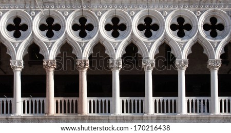 front view closeup of white Doge's Palace white tracery facade in Venice - stock photo