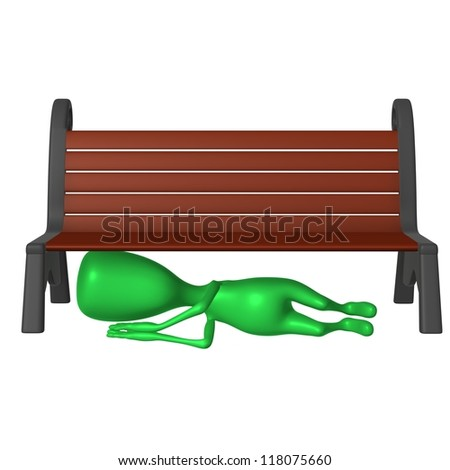 Front view drunk green puppet sleeping under bench - stock photo