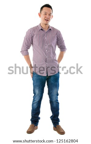 Front view full body Asian man standing  isolated on white background - stock photo