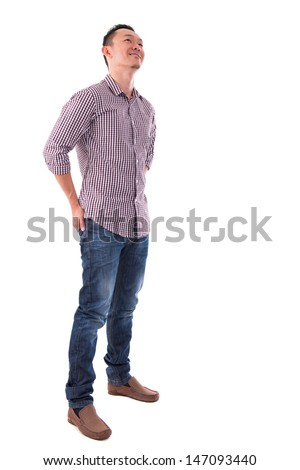 Front view full body confident Asian man looking up standing isolated on white background. Asian male model. - stock photo