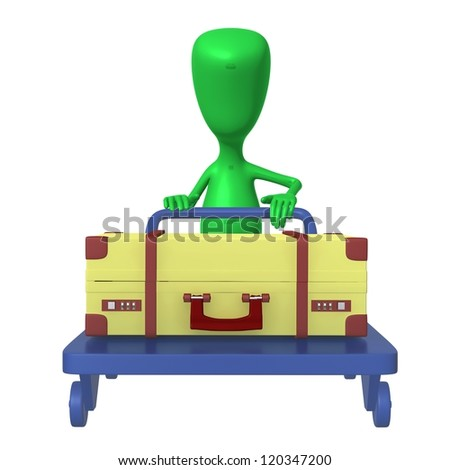 Front view green puppet push trolley with case - stock photo