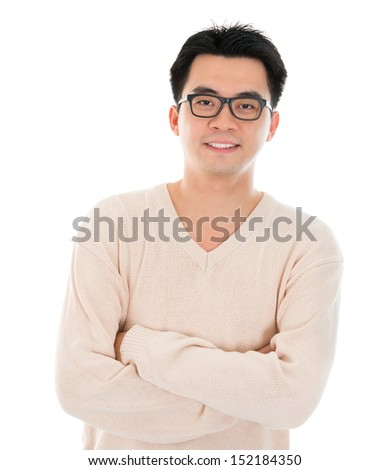 Front view headshot Asian man in casual wear standing isolated on white background. Asian male model. - stock photo