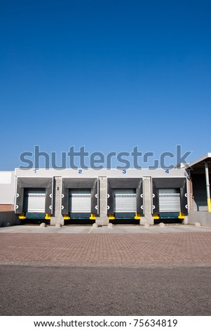 Front view loading docks - stock photo