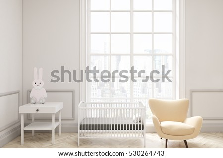 Front view of a baby's room interior with a cradle, an armchair and a bedside table. There is a large window with a cityscape. 3d rendering. Mock up