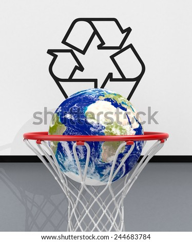 front view of a basketball hoop with the recycle symbol. An earth globe is falling through the hoop, concept of ecology (3d render) - Elements of this image furnished by NASA - stock photo