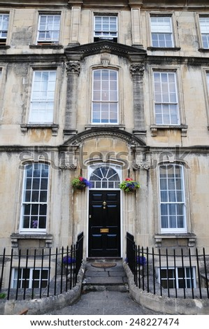 Front View of a Beautiful English Town House Built Circa 1750 - stock photo