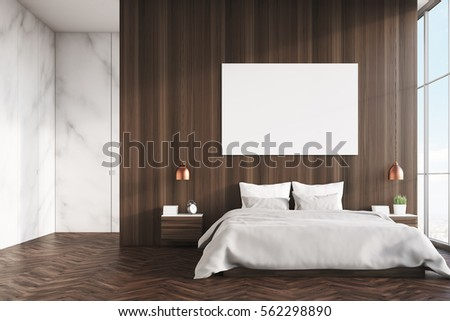 front view of a bedroom interior with a king size bed dark wooden and marble