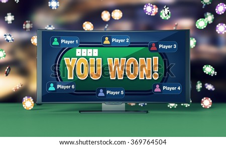 front view of a big curved screen with a poker app in a winning situation and poker chips falling on background (3d render) - stock photo