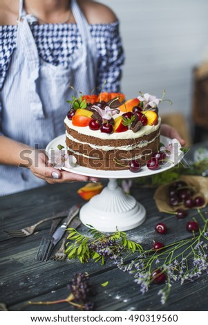 National Cake Strawberry Peach Fruits