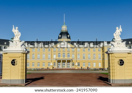 front view of a castle - stock photo