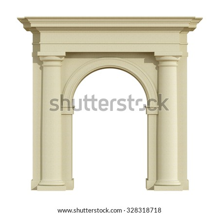 Front view of a classic arch in tuscany order isolated on white - 3D Rendering - stock photo