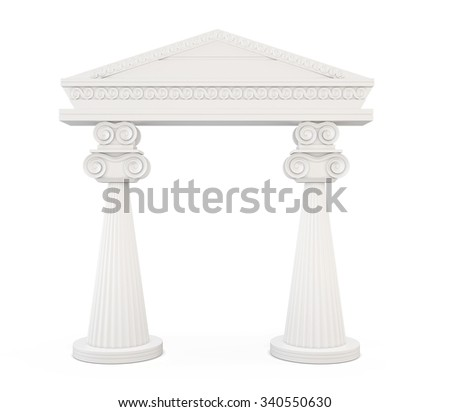 Front view of a classic entrance with columns isolated on white background. 3d illustration. - stock photo