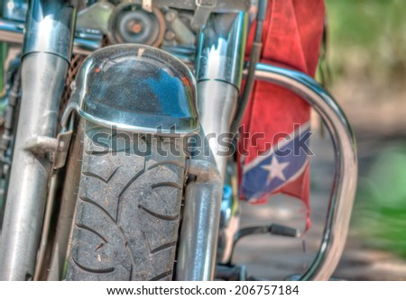 front view of a classic motorcycle - stock photo