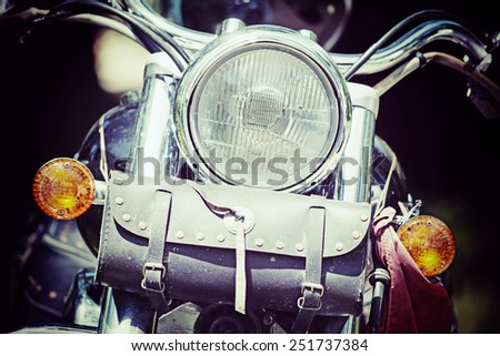 front view of a classic motorcycle in vintage tone effect - stock photo