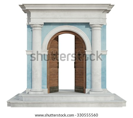 Front view of a classic portal in tuscany order  with open door isolated on white - 3D Rendering - stock photo
