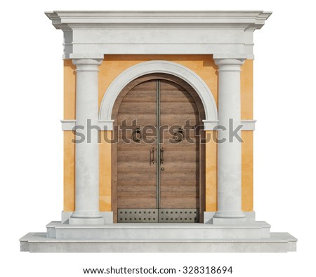 Front view of a classic portal in tuscany order  with wooden door isolated on white - 3D Rendering - stock photo