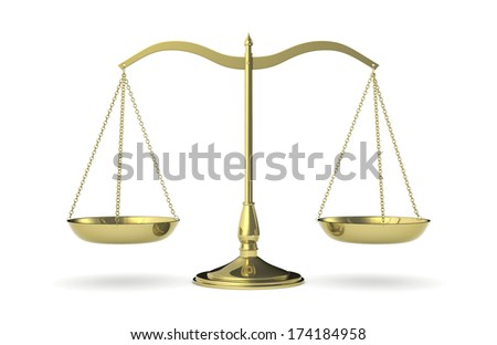 front view of a classic weight balance, symbol of justice (3d render) - stock photo