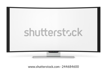 front view of a curved tv with blank screen (3d render)