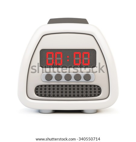Front view of a electronic watch alarm clock isolated on white background. 3d rendering. - stock photo