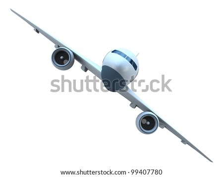 Front view of a flying passenger jet isolated on white background - stock photo