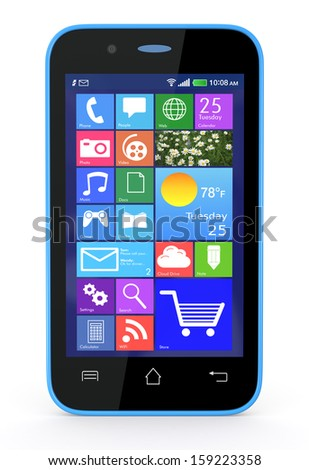 front view of a modern smartphone (3d render) - stock photo