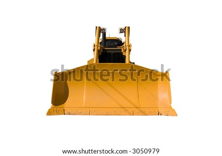 Front view of a new bulldozer isolated on white.
