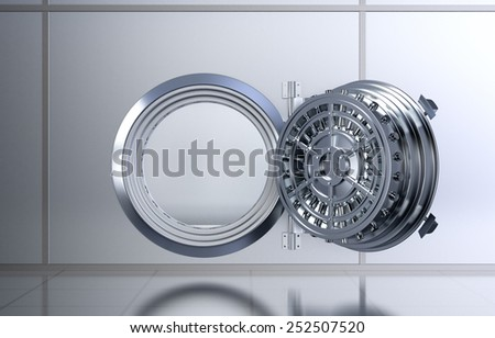 front view of a opened door of a bank vault (3d render) - stock photo