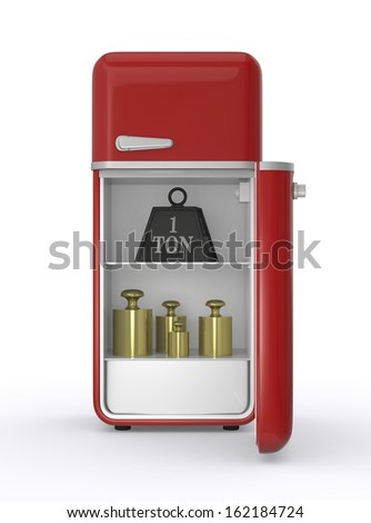 front view of a refrigerator with a big weight and some calibration weights (3d render) - stock photo