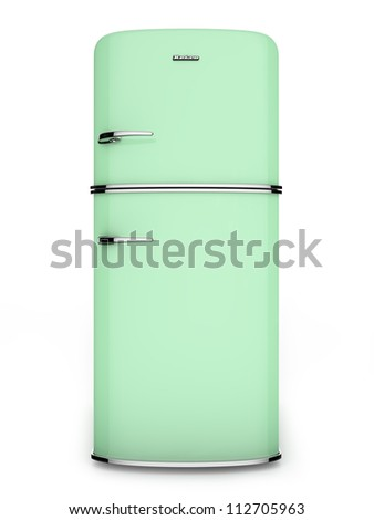 Front view of a retro green refrigerator