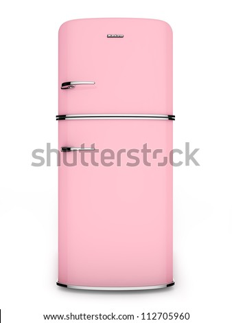 Front view of a retro pink refrigerator