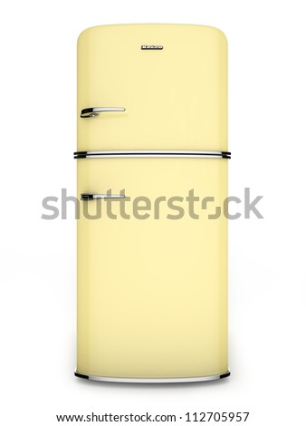 Front view of a retro yellow refrigerator