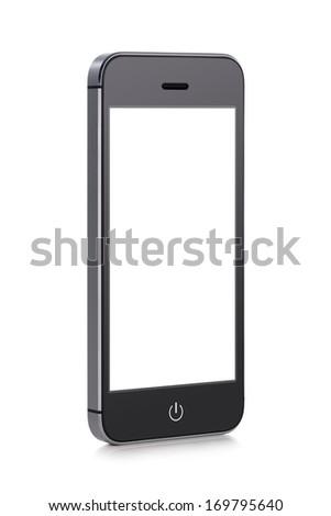 Front view of a rotated at a slight angle black modern mobile smart phone with blank screen isolated on white background. High quality. - stock photo