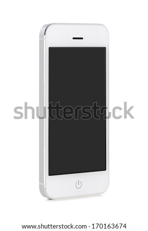 Front view of a rotated at a slight angle white modern mobile smart phone with blank black screen isolated on white background. High quality. - stock photo