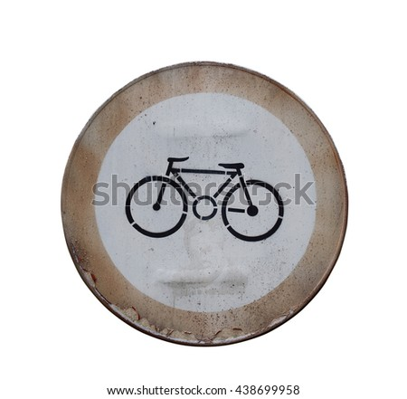 Front view of a rusted street bicycle sign isolated on white background - stock photo