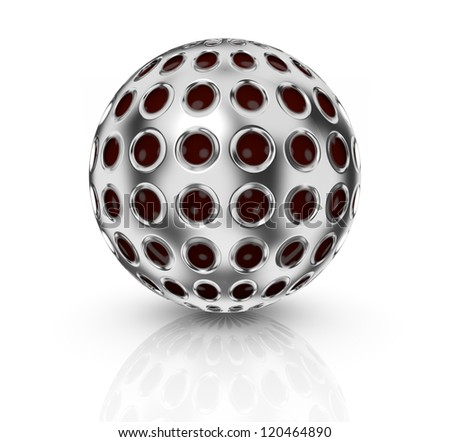 front view of a sphere mapped with a metal grid texture (3d render) - stock photo