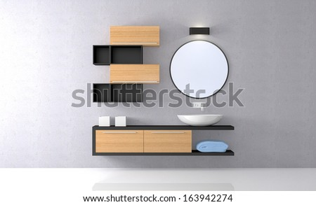 front view of a sunny modern bathroom (3d render) - stock photo
