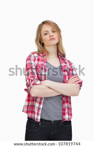 Front view of a woman upset against a white background - stock photo